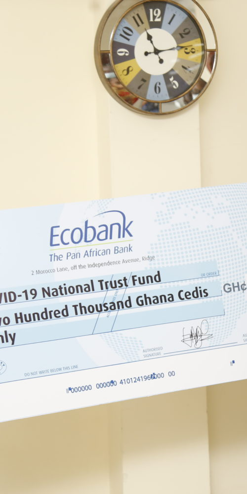Ebusuapanyin Capt. Paul Forjoe ('73) presenting a cheque for GHS 200,000.00 to the COVID-19 National Trust Fund. Receiving the cheque, immediate past Chief Justice and Chairperson of the Fund Her Lordship Sophia Akufo